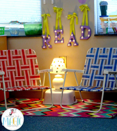 classroom library hacks: beach chairs for seating